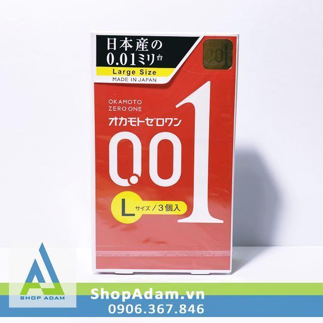 Bao cao su 0.01 Size lớn Okamoto Zero One Large (Hộp 3 chiếc)