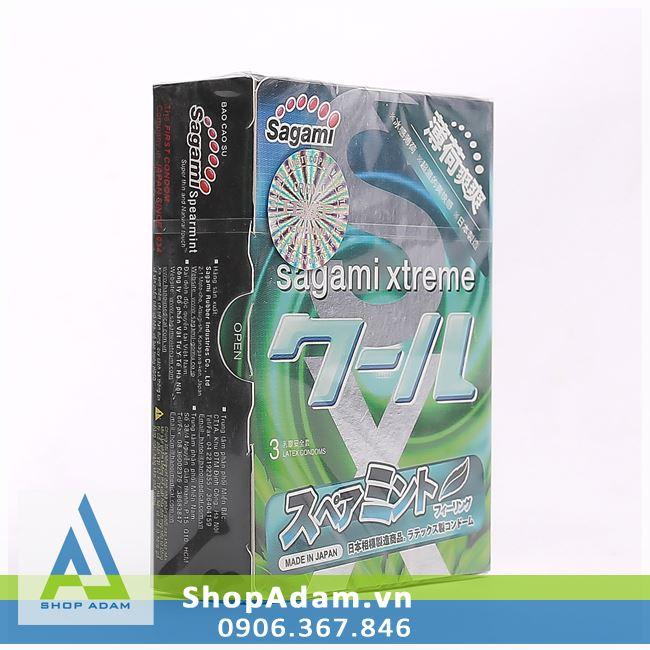 Bao cao su Nhật Bản hương thơm bạc hà SAGAMI Xtreme Spearmint (Hộp 3 chiếc)