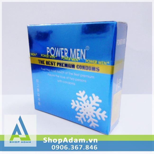 Bao cao su siêu mỏng Power Men 0.03 Invi bạc hà the mát (Hộp 3 chiếc)