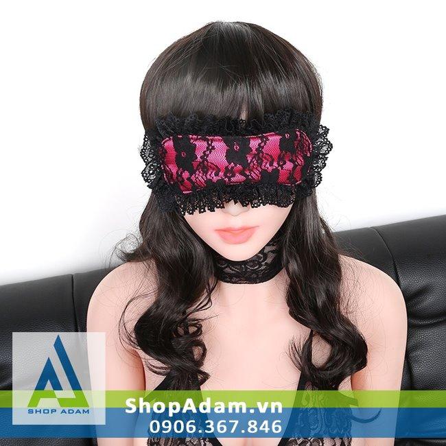 Bịt mắt vải mềm màu hồng đen