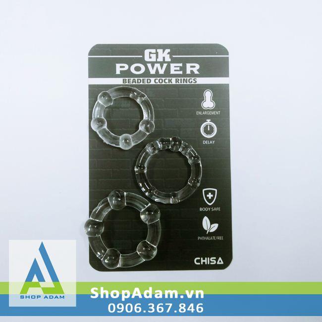 Vòng đeo dương vật có bi tăng kích thích GK Power (3 chiếc)