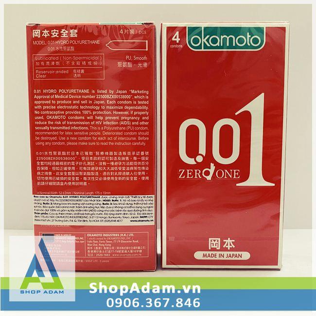 Bao Cao Su Okamoto 0.01 Zero One Siêu Mỏng (Hộp 4 chiếc)