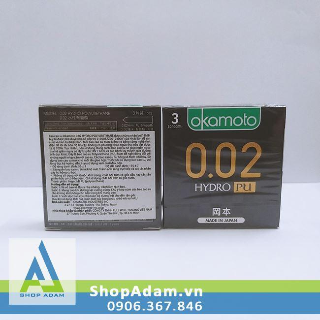 Bao Cao Su Okamoto 0.02 Hydro PU (Hộp 3 chiếc)