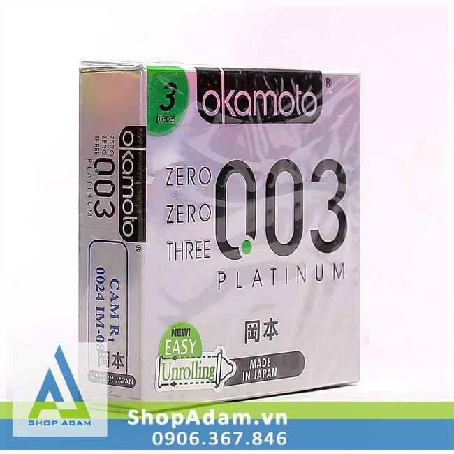 Bao cao su siêu mỏng OKAMOTO 0.03 Platinum (Hộp 3 chiếc)