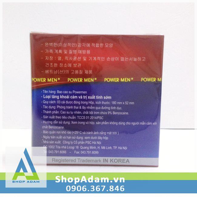 Bao Cao Su Hàn Quốc Power Men Deluxe Condoms (Hộp 3 chiếc)