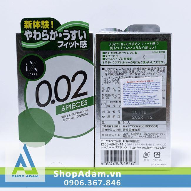 Bao cao su siêu mỏng 0.02 Jex IX (Hộp 6 chiếc)