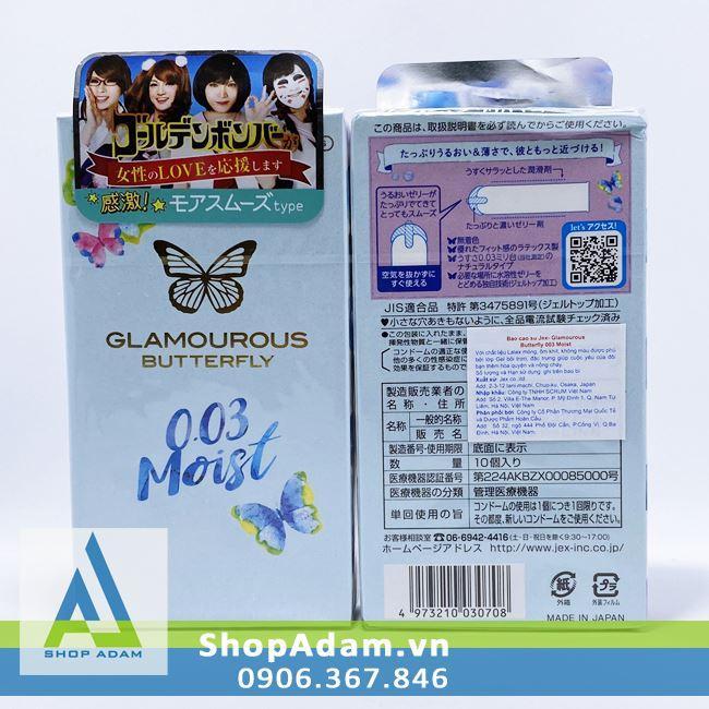 Bao cao su siêu mỏng Jex Glamourous Butterfly 0.03 Moist (Hộp 10 chiếc)