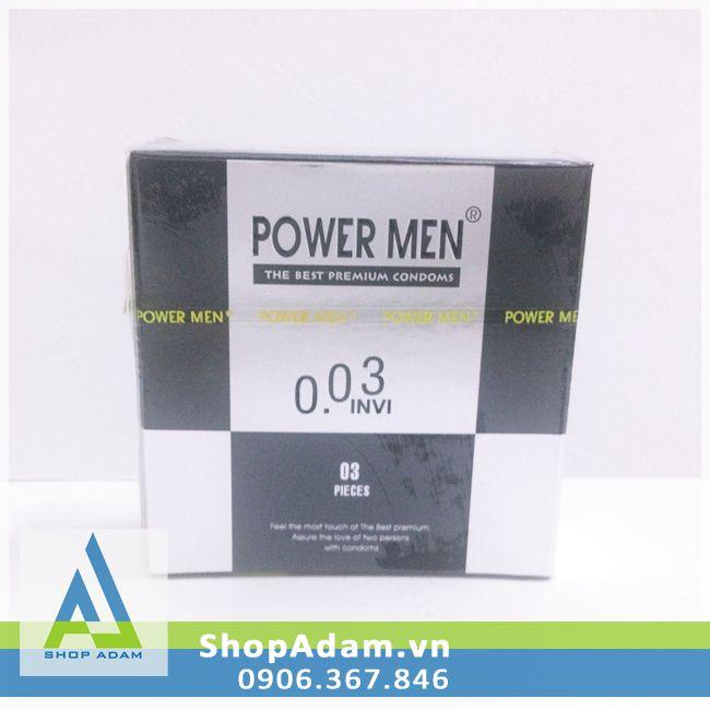 Bao cao su Power Men 0.03 Invi siêu mỏng (Hộp 3 chiếc)