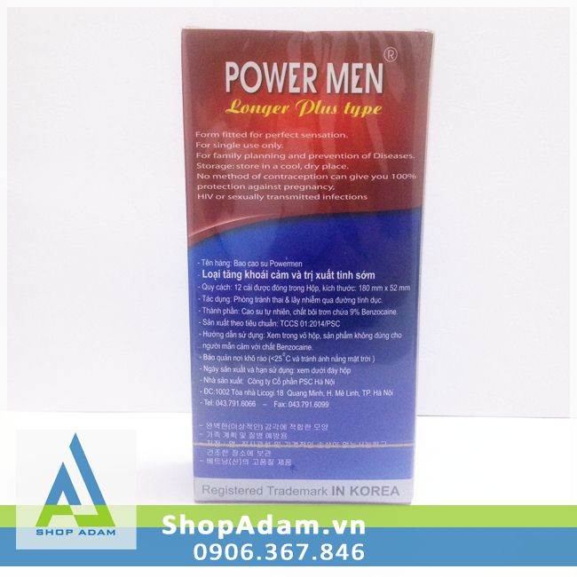 Bao cao su chống xuất tinh sớm POWER MEN Ngọc Trai (Hộp 12 chiếc)