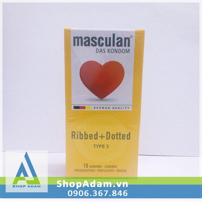 Bao cao su có gai Masculan Ribbed Dotted - Đức (Hộp 10 chiếc)