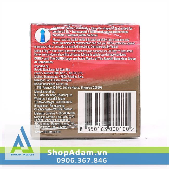 Bao cao su siêu mỏng Durex Fetherlite (Hộp 3 chiếc)
