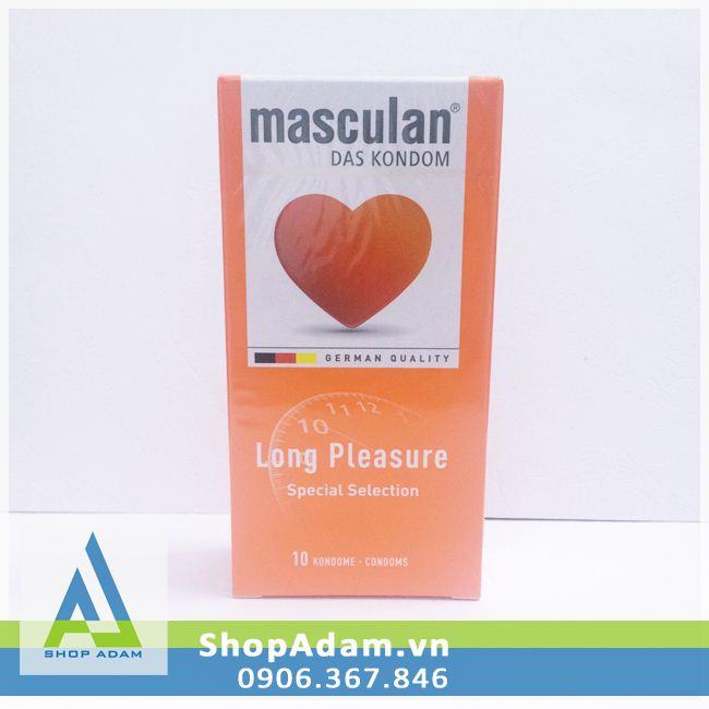 Bao cao su kéo dài thời gian Masculan Long Pleasure - Đức (Hộp 10 chiếc)