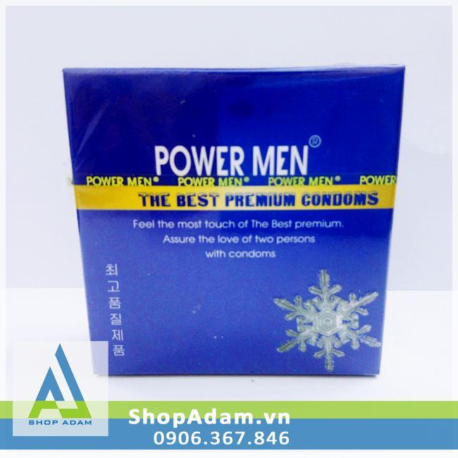 Bao cao su gai gân Power Men Frozen hương bạc hà - Hộp 3 chiếc
