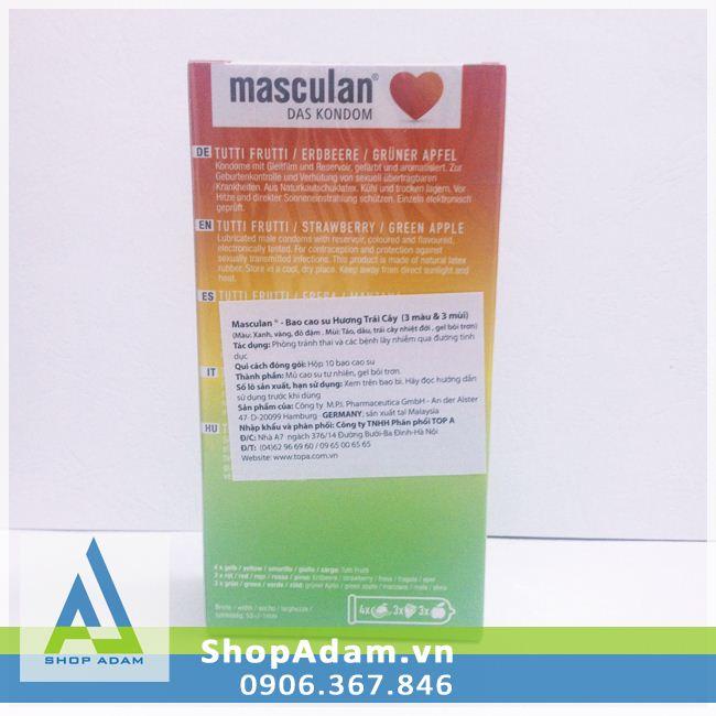 Bao cao su Masculan Frutti Edition hương trái cây (Hộp 10 chiếc)
