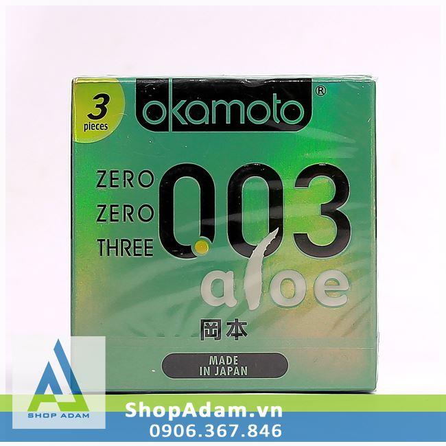 Bao cao su cao cấp Nhật Bản siêu mỏng OKAMOTO 0.03 Aloe (Hộp 3 chiếc)