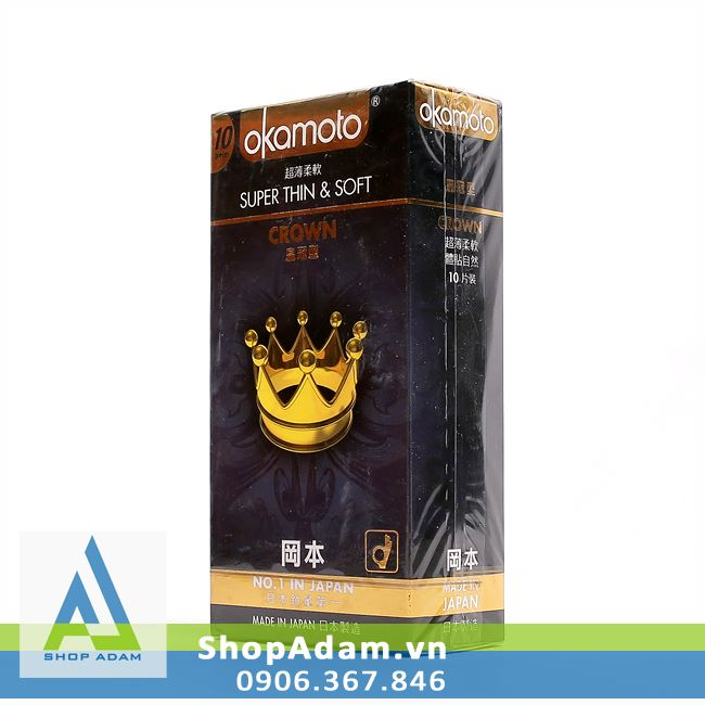 Bao cao su OKAMOTO Crown - Vương miện siêu mỏng (Hộp 10 chiếc)