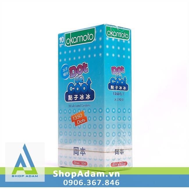 Bao cao su gai OKAMOTO Dot De Cool hương bạc hà (Hộp 10 chiếc)