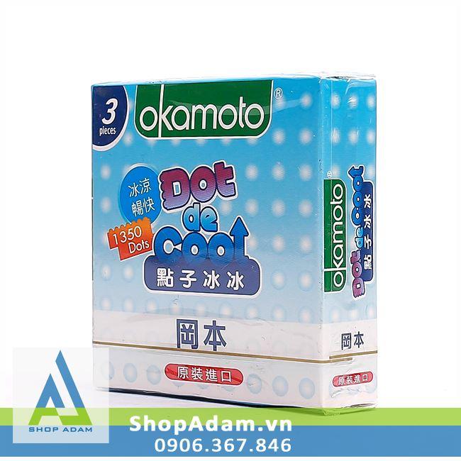 Bao cao su OKAMOTO Dot De Cool có gai hương bạc hà (Hộp 3 chiếc)