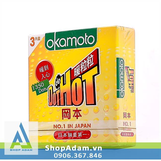 Bao cao su Nhật Bản OKAMOTO Dot De Hot (Hộp 3 chiếc)