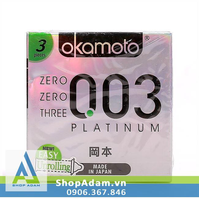 Bao cao su OKAMOTO zero zero three 0.03 Platinum (Hộp 3 chiếc)