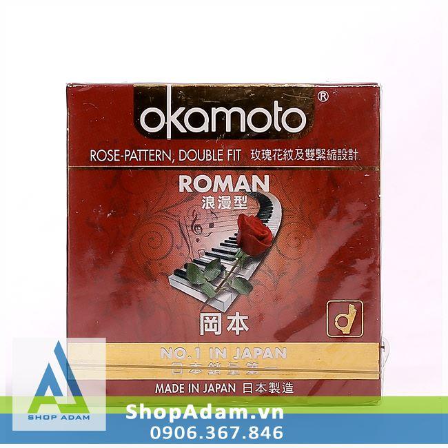 Bao cao su Nhật Bản ôm khít OKAMOTO Roman (Hộp 3 chiếc)