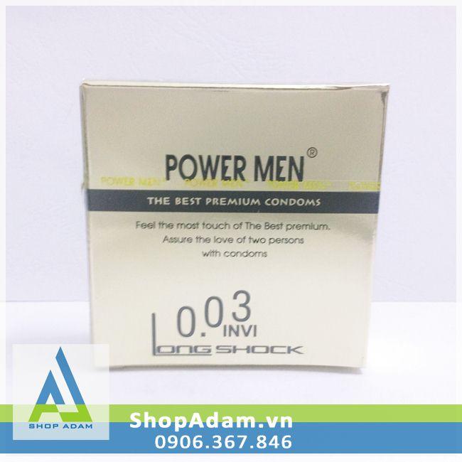 Bao cao su Power Men 0.03 Invi Longshock siêu mỏng chống xuất tinh sớm (Hộp 3 chiếc)