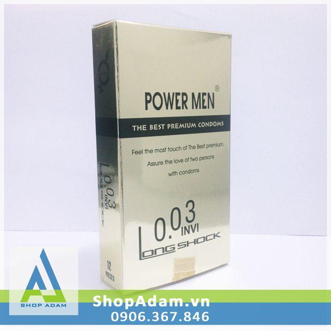 Bao cao su Power Men cao cấp siêu mỏng kéo dài thời gian 0.03 Invi Long Shock (Hộp 12 chiếc)
