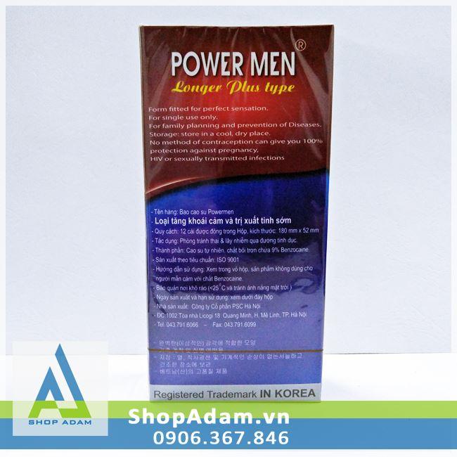 Bao cao su POWER MEN Ngọc Trai - Chống xuất tinh sớm (Hộp 12 chiếc)