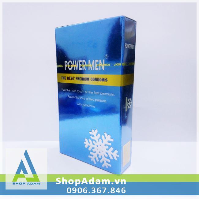 Bao cao su Power Men siêu mỏng 0.03 Invi hương bạc hà (Hộp 12 chiếc)