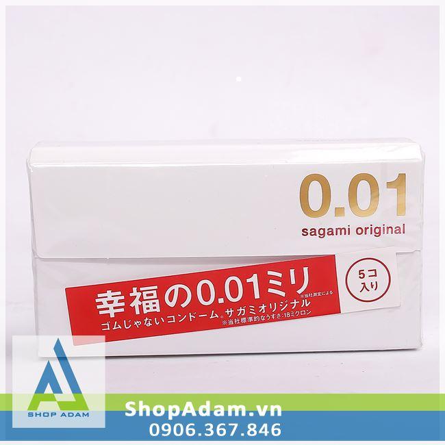 Bao cao su SAGAMI Original 0.01 mỏng nhất thế giới (Hộp 5 chiếc)