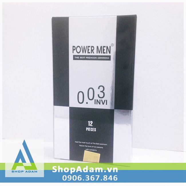 Bao cao su cao cấp siêu mỏng Power Men 0.03 Invi (Hộp 12 chiếc)