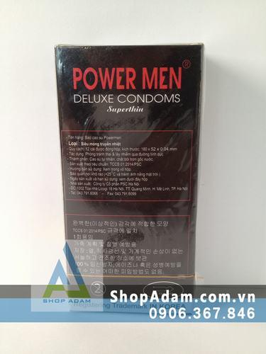 Bao cao su siêu mỏng POWER MEN Superthin (Hộp 12 chiếc)